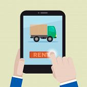 minimalistic illustration of renting a truck on a mobile device, eps10 vector