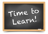 detailed illustration of a blackboard with Time to Learn text, eps10 vector, gradient mesh included