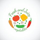 Juicy and Fresh vegetables vector symbol icon or stamp