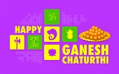 image of kalash  - illustration of Happy Ganesh Chaturthi background - JPG