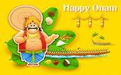 illustration of King Mahabali enjoying Boat Race of Kerla on Onam