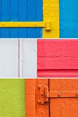 Three backgrounds caribbean house walls painted with vibrant colors