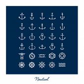 Set of nautical, anchor symbols