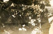 SIERADZ, POLAND, CIRCA SIXTIES - Vintage photo of miners' orchestra