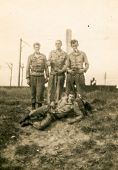 SIERADZ, POLAND, CIRCA SIXTIES - Vintage photo of soldiers outdoor