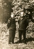 SIERADZ, POLAND, CIRCA SIXTIES - Vintage photo of two miners in dress uniforms