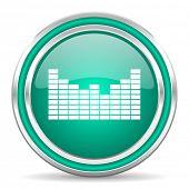 sound green glossy web icon