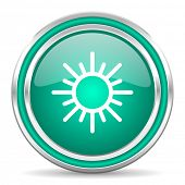 sun green glossy web icon