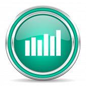 graph green glossy web icon