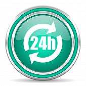 24h green glossy web icon