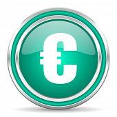 euro green glossy web icon