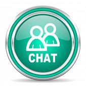 chat green glossy web icon