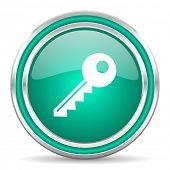 key green glossy web icon