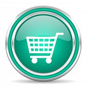 cart green glossy web icon