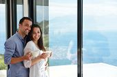 romantic happy young couple relax at modern home indoors