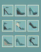Unique blue women shoes square icons set