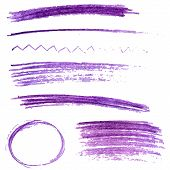Set of violet color pencil strokes and frames. Sketch vector design elements