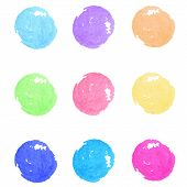 Set of watercolor paint circles. Vector design elements.