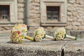 wedding bouquets on stone background