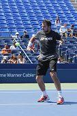 Grand Slam Champion Stanislas Wawrinka practices for US Open 2014
