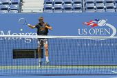 Professional tennis player Tomas Berdych practices for US Open 2014