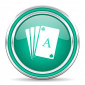 card green glossy web icon