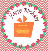 Vector colorful birthday card with gift boxes in circle and herringbone on background