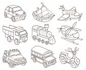 set of transport icons (vector illustration for coloring book)