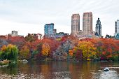 Cloudy Autumn Day At The Lake In Central Park, New York, New York.