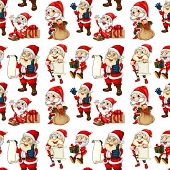 Illustration of a seamless design with Santa on a white background