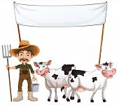 Illustration of a farmer and his cows near the empty banner on a white background