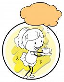 Illustration of a girl holding a cup of coffee with an empty callout template on a white background