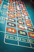 Green felt roulette betting table
