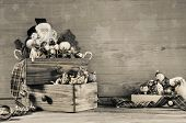 Shabby Chic Wooden Grey Christmas Background With Santa Decoration.