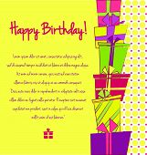 Vector colorful birthday card with gift boxes on background