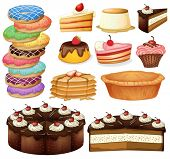 Illustration of many different desserts