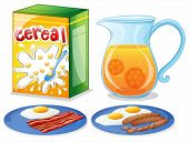 Illustration of the breakfast foods on a white background