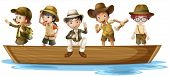 Illustration of girls and boys explorers on boat
