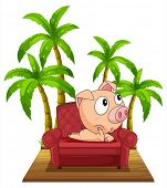 Illustration of a pig sitting at the chair near the coconut trees on a white background
