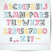 Alphabet Of Rasterized Point Multicolored Letters