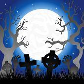 Full Moon Over The Cemetery