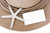 Straw Hat And Starfish And Blank