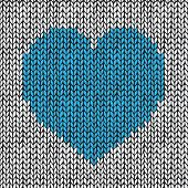 Seamless pattern with hand drawn knitted heart