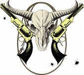 stock photo of lasso  - Mascot of the Wild West with bison skull with revolvers and lasso - JPG