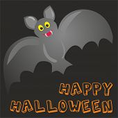 Happy Halloween vector party card with cute bat and hand drawn wishes