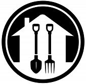 Garden Landscaping Icon With Shovel And Pitchfork