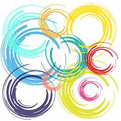 color brush circles on white background vector