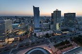 Panorama Of Warsaw City Center During Sundown
