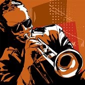 stock photo of trumpets  - Jazz trumpet player - JPG