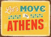 Vintage metal sign - Let's move to Athens - Vector EPS 10.